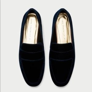 Zara Blue Velvet Loafers